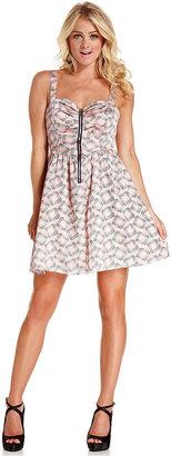 Monroe Marilyn Juniors Dress, Sleeveless Printed Cutout Bow-Back