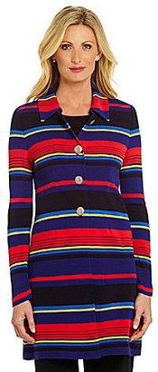 Misook Morgan Striped Knit Coat