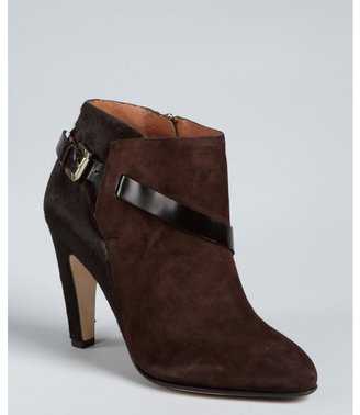 Sigerson Morrison chocolate suede and calf hair buckle 'Vianna' ankle boots
