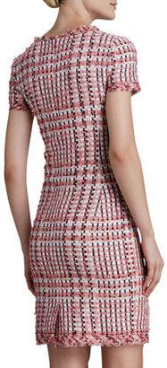 Oscar de la Renta Short-Sleeve Tweed Dress with Pockets