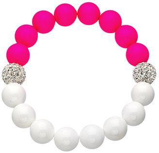 Very Me White Coral Neon Pink Stretch Bead Bracelet