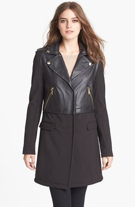BCBGeneration Soft Shell & Faux Leather Coat