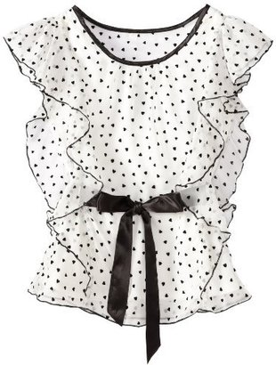 Amy Byer Girls 7-16 Printed Chiffon Top with Flutter Sleeve and Ribbon Belt