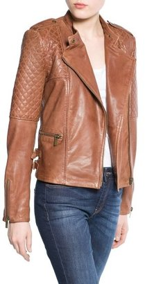 MANGO Outlet Quilted Panel Leather Jacket