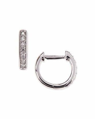 Jude Frances Small 18K White Gold Huggie Hoop Earrings with Diamonds, 11mm