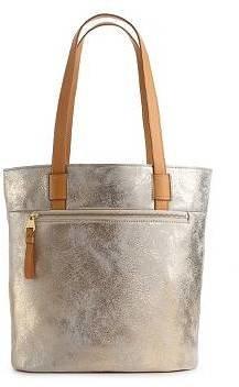 Perlina Lucia Metallic Leather Bucket Tote