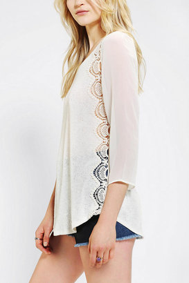 Urban Outfitters Pins And Needles Crochet Side Pullover Knit Top