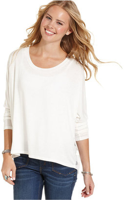 6 Degrees Juniors Top, Long Sleeve Sheer Striped High-Low