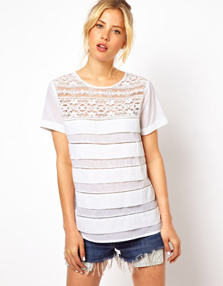 Asos Shell Top With Lace Inserts And Pleat Detail