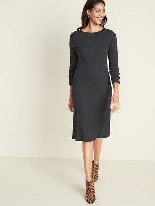 Old Navy Fitted Rib-Knit Midi Shift Dress for Women