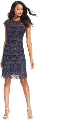 Patra Dress, Cap-Sleeve Metallic Lace Cocktail Dress