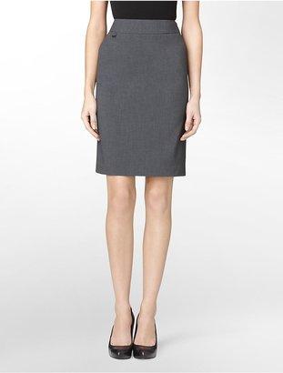 Calvin Klein Essential Charcoal Stretch Pencil Suit Skirt