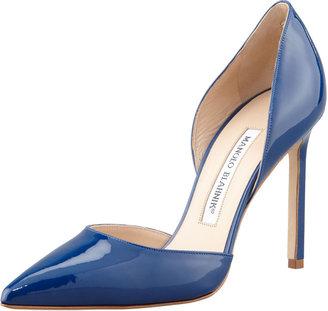 Manolo Blahnik Tayler Patent Pointed d'Orsay Pump, Blue
