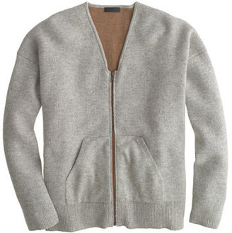 J.Crew Collection bonded cashmere zip sweater-jacket