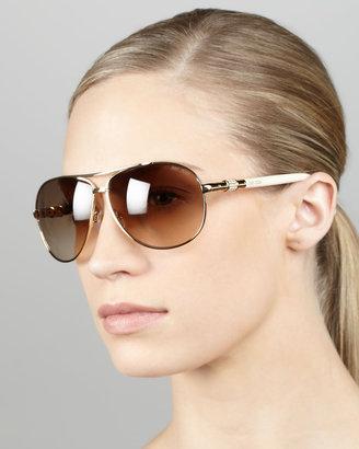 Jimmy Choo Walde Crystal-Temple Aviator Sunglasses, Ivory