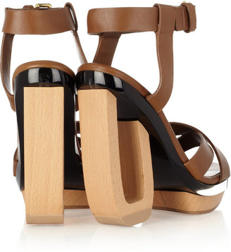 Marni Leather, wood and perspex sandals