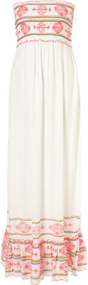 Topshop White Fluorescent Embroidered Bandeau Maxi Cover Up