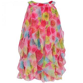 Kate Mack Biscotti Rose Print Waterfall Dress