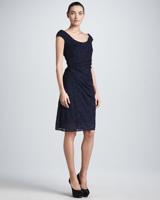 Escada Ruched Cap-Sleeve Lace Dress, Navy