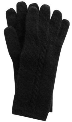 Portolano black cashmere baby cable gloves