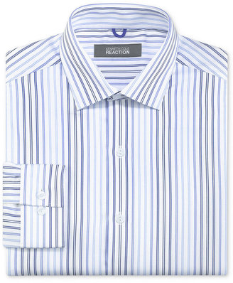 Kenneth Cole Reaction Dress Shirt, Slim-Fit White and Blue Stripe Long Sleeve Shirt