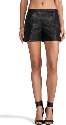 Derek Lam 10 CROSBY Western Leather Shorts
