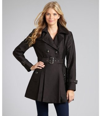 Kenneth Cole New York black sateen double breasted trench