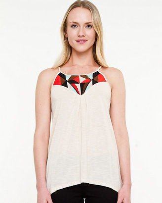Le Château Embroidered Jersey Sleeveless Top
