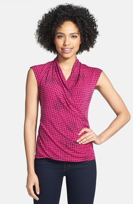 Chaus 'Modern Dashes' Faux Wrap Top