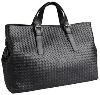 Bottega Veneta black intrecciato leather large travel tote