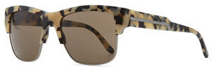 Stella McCartney Half-Rim Sunglasses, Gray Tortoise