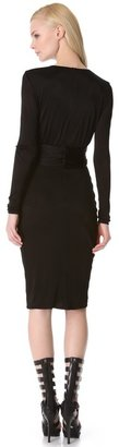 Versace Deep V Dress with Long Sleeves