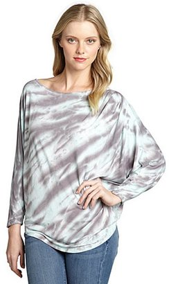 Loveappella mint and grey tie dyed jersey knit dolman top