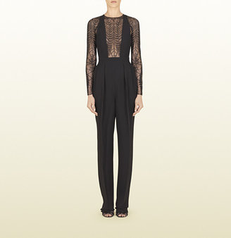 Gucci Black Jumpsuit With Lace Fern Detail
