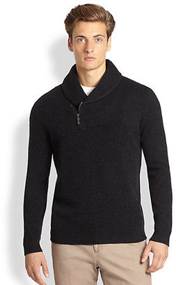 Saks Fifth Avenue Black Label Shawl Collar Zip Sweater