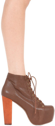 Jeffrey Campbell Lita Shoe in Brown Leather -