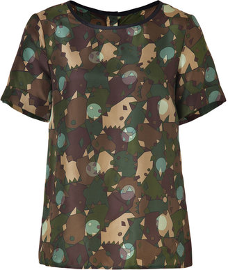 Marc by Marc Jacobs Desert Palm Multi Silk Nata Camouflage Top