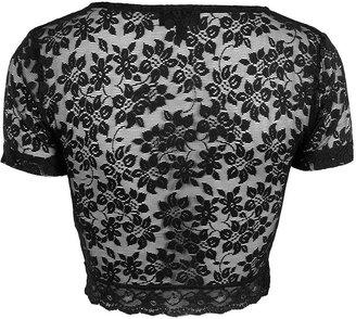 Topshop Short Sleeve Lace Crop