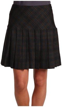 DKNY DKNYC Gauze Plaid Pleated Mini Skirt