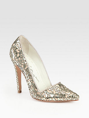 Alice + Olivia Dina Metallic Leather Cutout Pumps