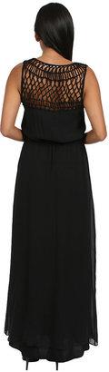 Chelsea Flower Silk Macrame Maxi Dress in Black