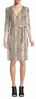 Diane von Furstenberg New Julian Two Python Print Wrap Dress
