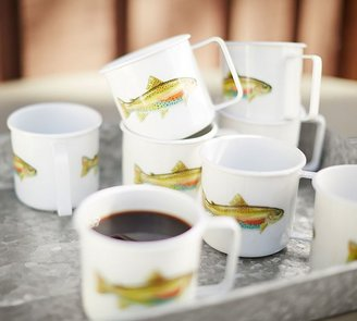 Pottery Barn Trout Enamel Mug, Set of 4