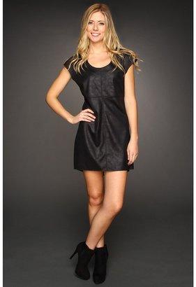C&C California Faux Leather Seamed Dress (Black) - Apparel