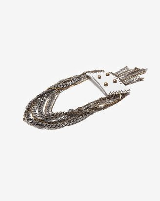 Jenny Bird Leather And Chain Collar Necklace