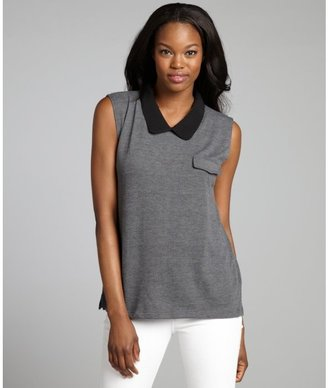 LnA charcoal and black knit peterpan collar 'Abbey' top