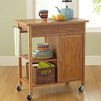 JCPenney Lotus Bamboo Rolling Kitchen Cart with Towel Rack