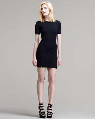 Alexander Wang Fitted Short-Sleeve Tech Suiting Dress