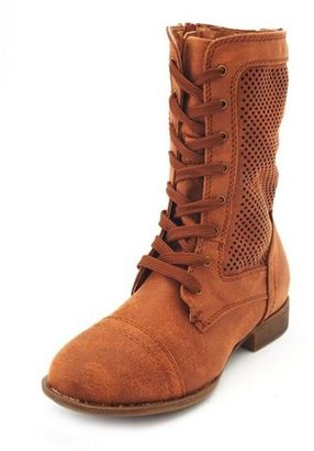 Charlotte Russe Perforated Lace-Up Combat Bootie