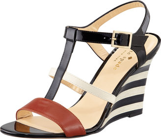 Kate Spade Irina Patent Striped Wedge Sandal